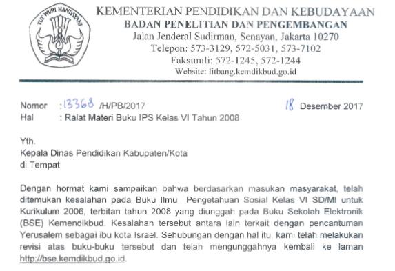 Surat Ralat Materi Buku IPS Kelas VI SD Tahun 2008