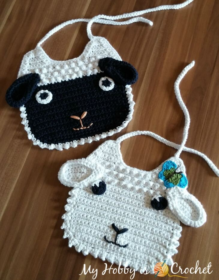 My Hobby Is Crochet Little Lamb Baby Bib Free Crochet Pattern