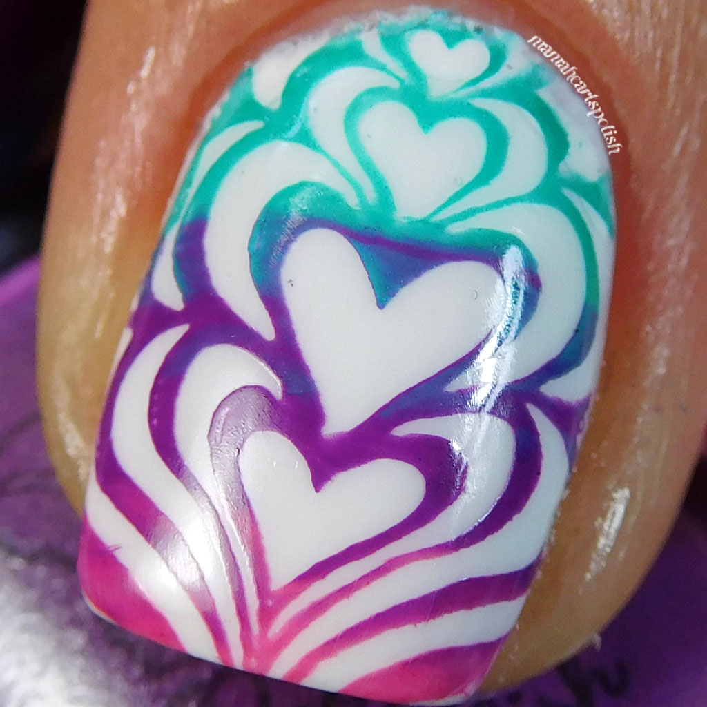 Water Marble Nail Polish Brands India: Water Marble Heart Gradient Stamping