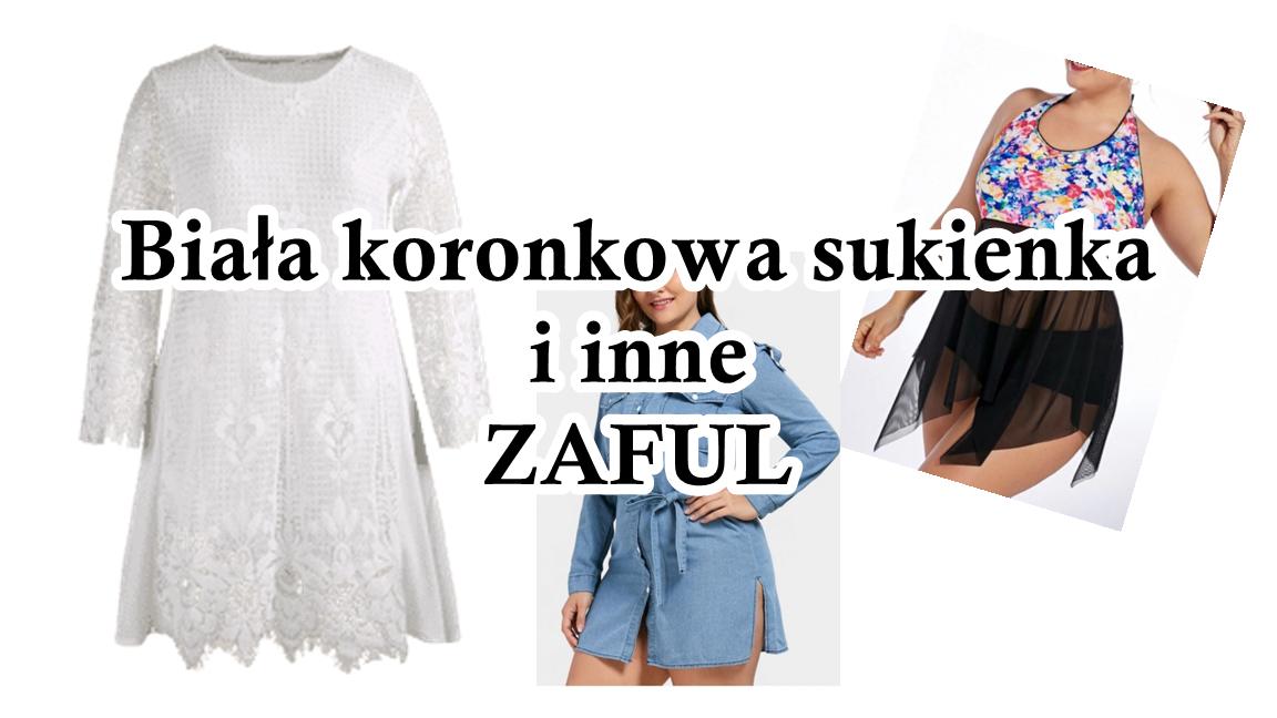 Biała koronkowa sukienka ZAFUL