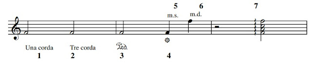1. - Una corda stands for 'one string' which is to use the left pedal  (damper pedal) on the piano 2. - Tre corda or 'three strings' means to liftthe left (damper) pedal. 3. - Ped is short for 'pedal' meaning use the right or sustain pedal.  4. - Release the right (sustain) pedal. 5. - m.s. - mano sinistra i.e. play with the left hand. 6. - m.d. - mano destra i.e. play with the right hand. 7. - spread the notes of a chord, starting at the bottom much like a  rapid arpeggio.