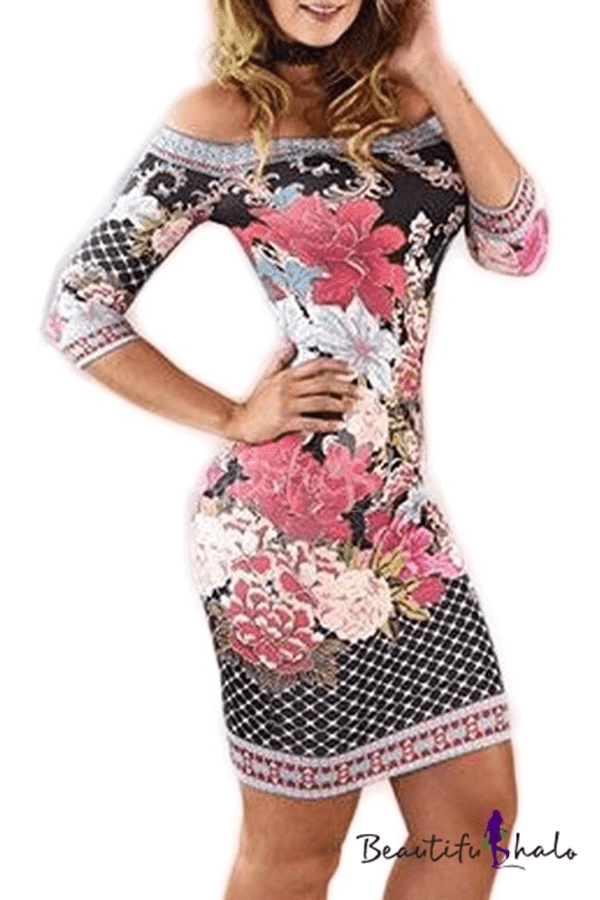 Off the Shoulder Half Sleeve Floral Plaid Printed Mini Bodycon Dress
