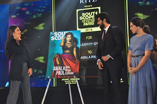Amala Paul in Black Top Lovely Slaty Trousers Stylish Show at South Scope Life Style Awards 2016