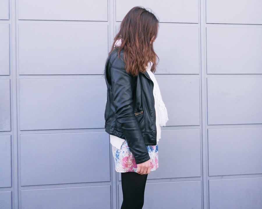 outfit floral skirt leather jacket