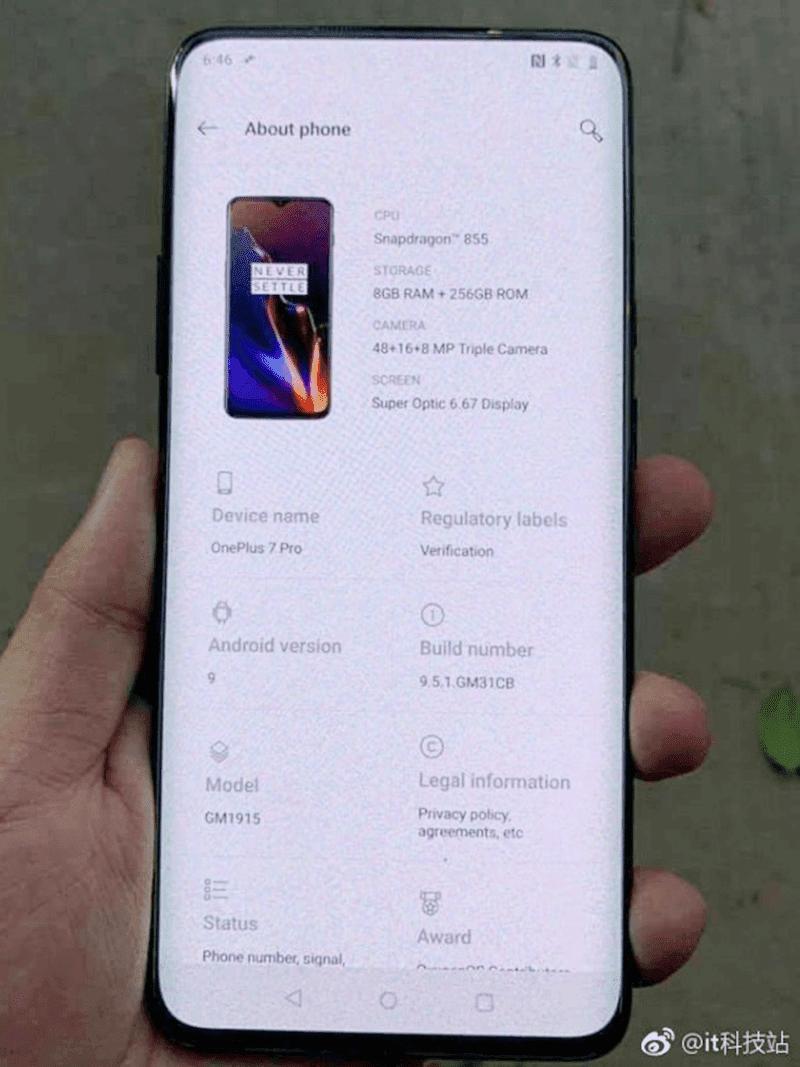 Key specs of OnePlus 7 Pro