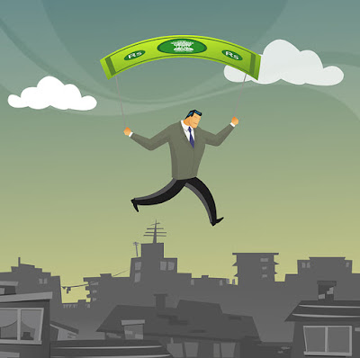 graphic of a man with a money parachute over the city