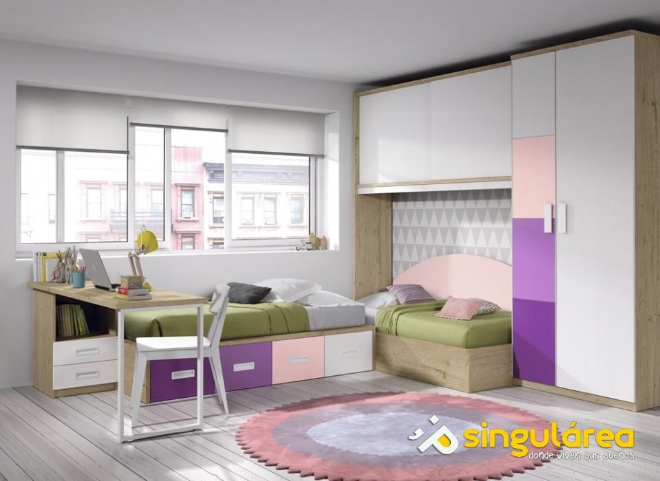 Juvenil camas en ngulo 2033 for Habitacion juvenil 2 camas