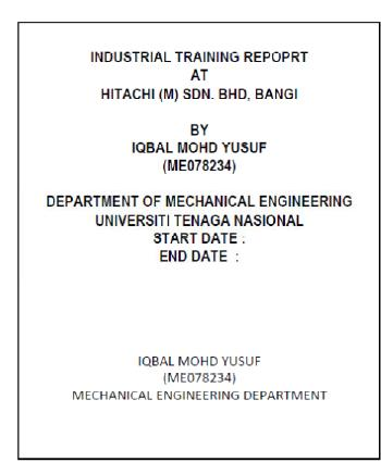 training report cover page - Madran kaptanband co