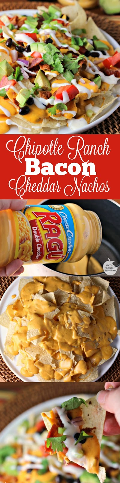 Chipotle Ranch Bacon Cheddar Nachos   by Renee's Kitchen Adventures - A fun and easy recipe for cheesy nachos great for entertaining or a fun family meal! A bacon and cheddar lovers treat! #simmeredintradition