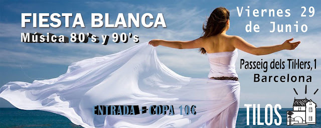 Flyer Fiesta Blanca 80s y 90s