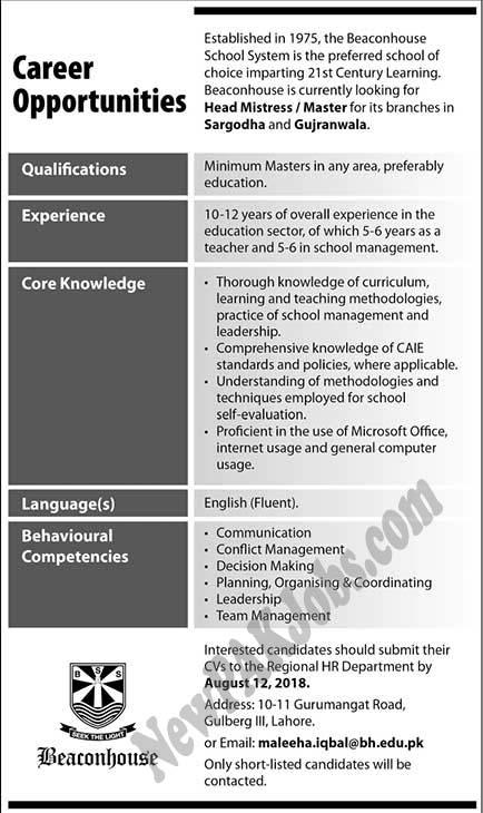 Beacon House School System Announced Jobs 2018