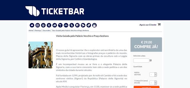 Ticketbar para ingressos para a visita guiada ao Palácio Vecchio e Praça Senhora