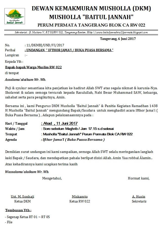 Masjid Baitul Jannah Rw 022 Perum Permata Tangerang Undangan Buka