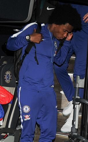 Chelsea's players departs Liverpool after Carabao Cup victory at Anfield.