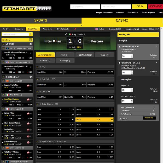 Setantabet Screen