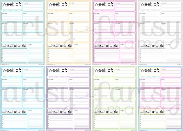 Free Printable Weekly Planner artsy-fartsy mama - Free Printable Weekly Planner
