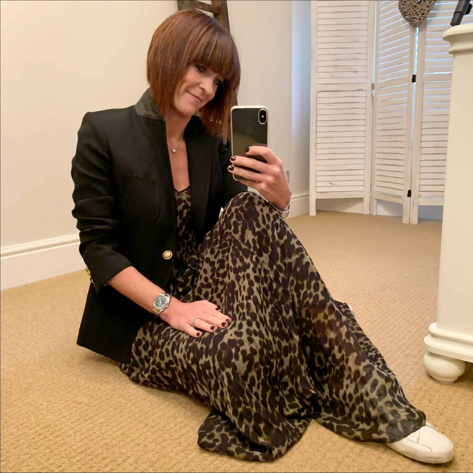 my midlife fashion, j crew regent blazer, isabel marant etoile leopard print maxi dress, golden goose superstar low top leather trainers