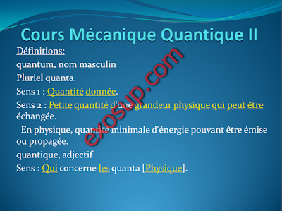cours Mécanique Quantique 2 smp s5