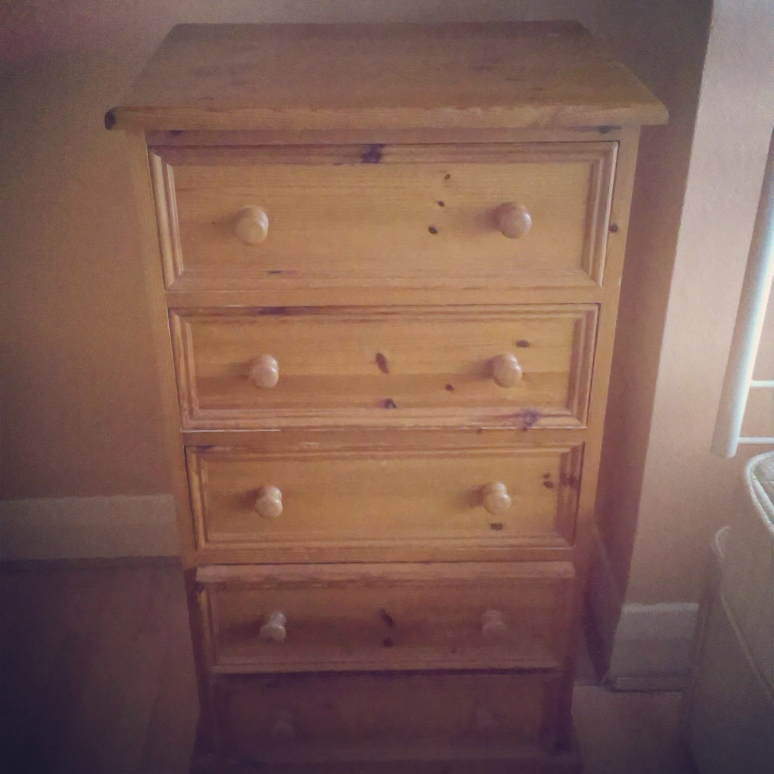4pm - getting an old chest of drawers ready to be redorated