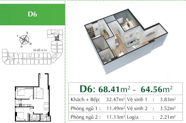 Thiết kế căn hộ D6 Eco City Việt Hưng
