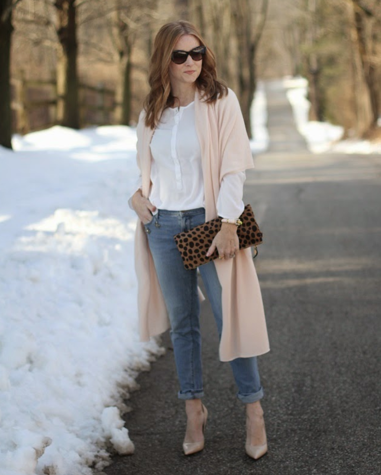 white blouse with pink wrap and girlfriend jeans