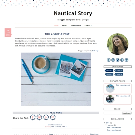 Nautical Story Blogger Template