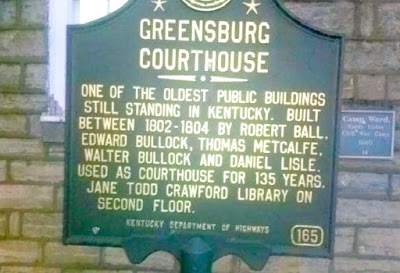 Greensburg Courthouse Historical Marker in Kentucky