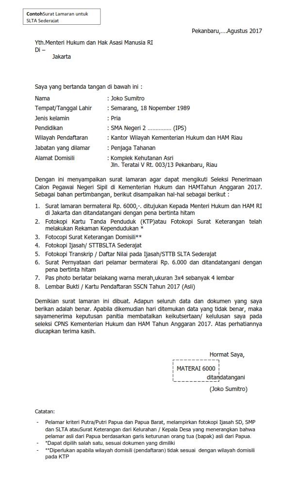 gambar untuk Contoh Surat Lamaran Kerja Penjaga Tahanan (Sipir) dalam seleksi CPNS Kemenkumham TA 2017
