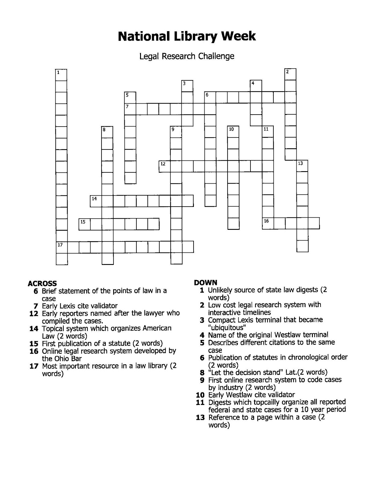 Enter The Dewey B Strategic Research Crossword Challenge