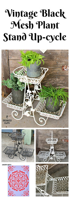 Upcycled Vintage Mesh Plant Stand