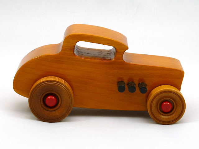Right Side - Wooden Toy Car - Hot Rod Freaky Ford - 32 Deuce Coupe - Pine - Amber Shellac - Red Hubs