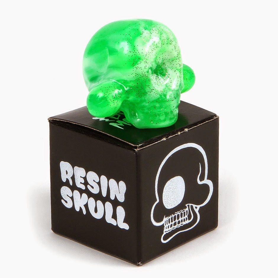 Translucent Green Swirled Glitter Jumbo Resin Skulls by Buff Monster