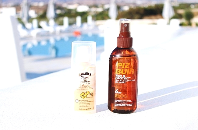 Piz Buin Tan & Protect tan oil spray spf6.Hawaiian Tropic Silk hydration face cream spf 30.