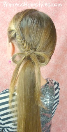 fishtail braid bow ponytail hairstyle