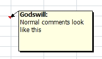 Microsoft Excel comment box