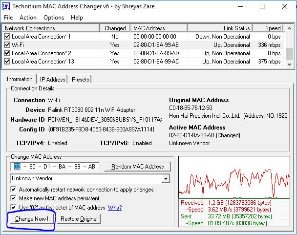 Cara Ganti Mac Address Dengan TMAC Untuk Login Wifi Id