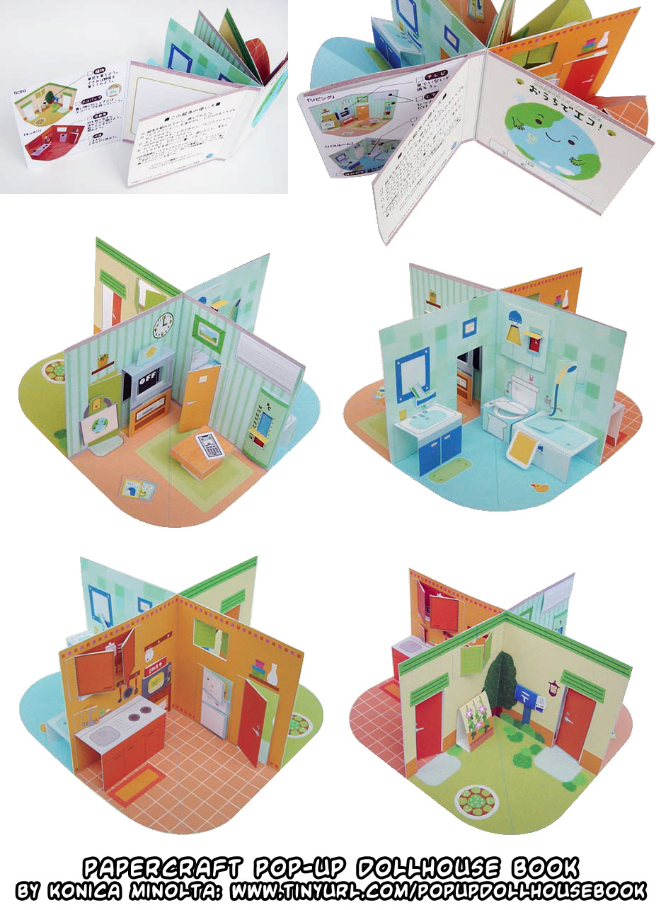 Ninjatoes 39 papercraft weblog papercraft pop up dollhouse for Pop up storybook template