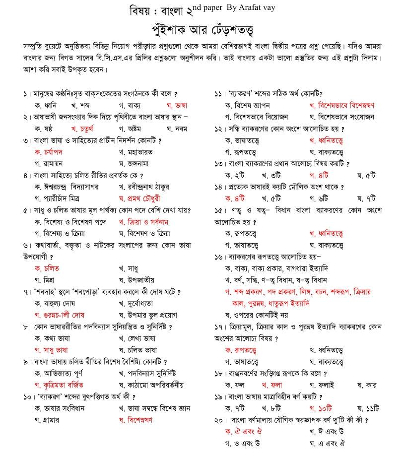 Bangla Preparation for BUET Exam - Bd Job Favor