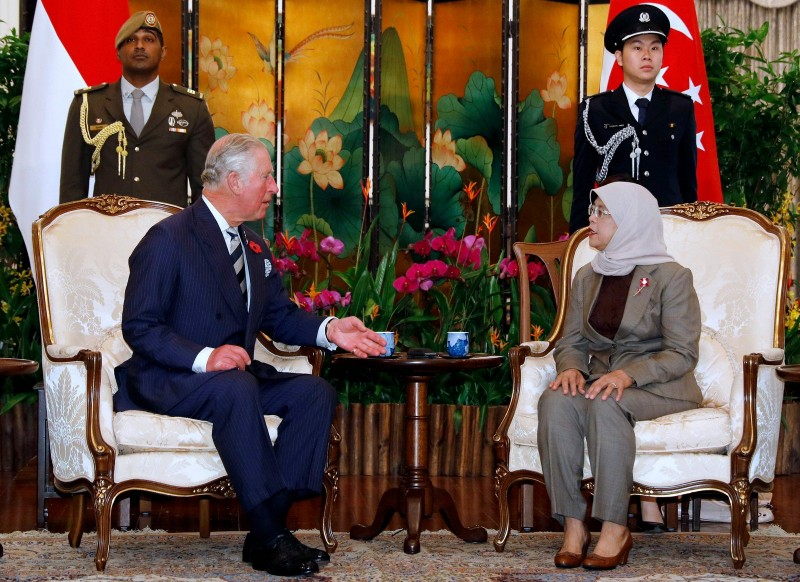 Britain's Prince Charles, Prince of Wales meets Singapore's President Halimah Yacob at the Istana in Singapore October 31, 2017.