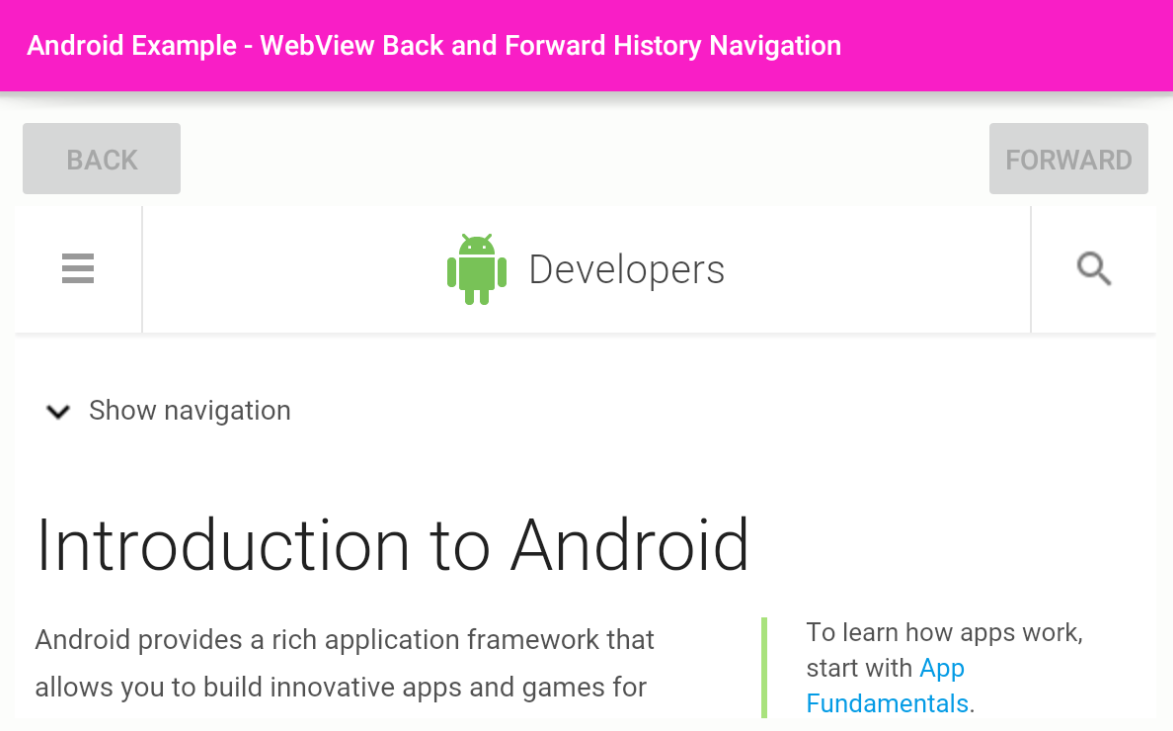 android - How to navigate WebView back forward history