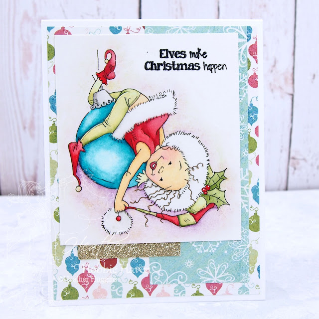 Heather's Hobbie Haven - Watercolor Little Elf Pipa Card