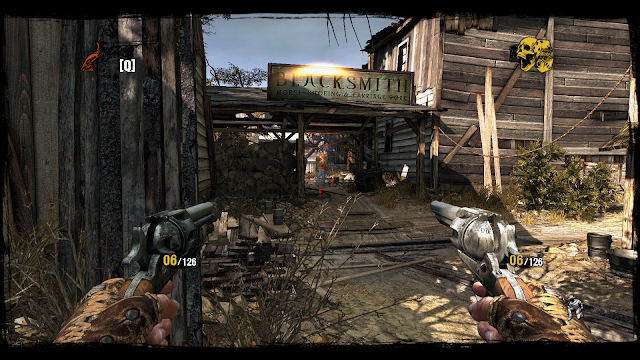Screenshot of a ramshackle town Blacksmith on Call of Juarez: Gunslinger