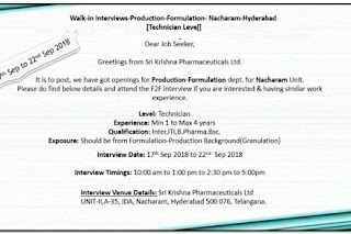 Walk in interview@ Sri Krishna pharma for technician on 17 to 22 September