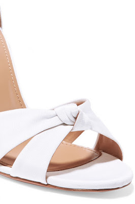 Aquazzura White All Tied Up Grosgrain Sandals