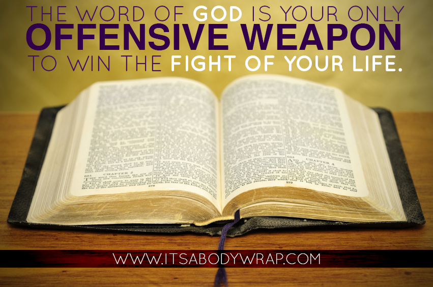 The Scriptures are to be our only offensive weapon, not our pen or our word processor, not our tongue, and least of all the back of our hand.