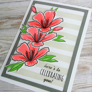 birthday card with Springtime Azalea stamp set from Altenew