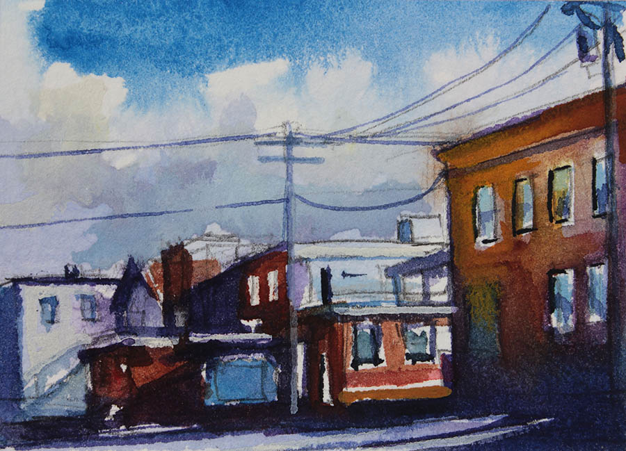 Watercolor painting of buildings on main street williamsville