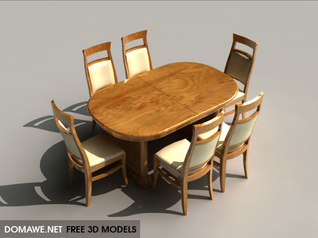 DOMAWE net: Dinner Table & Chair Set - Free 3D Models