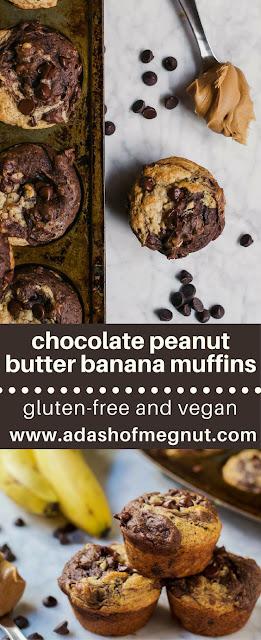 Gluten-Free Chocolate Peanut Butter Banana Muffins