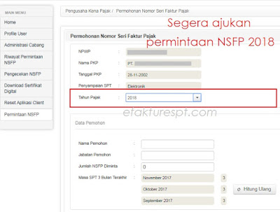 Permintaan NSFP Online di Enofa Online